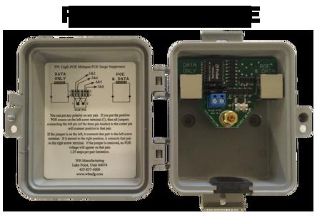 Outdoor GigE POE Injector / Surge Protector-Suppressor-Arrestor with midspan POE insert/extract.